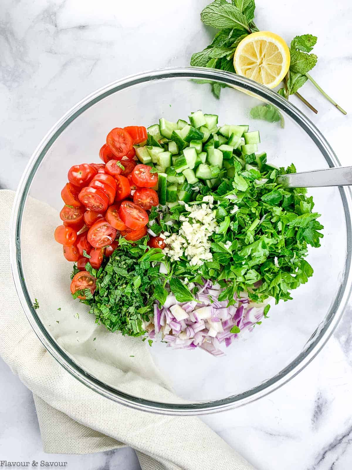 Ingredients for Tabouli Pasta Salad