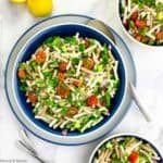 Overhead view of a bowl of Tabouli Pasta Salad