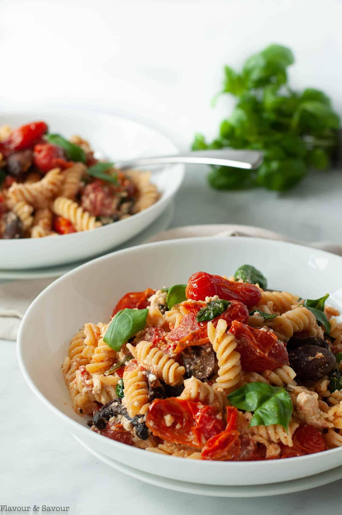 Gluten-free Feta Tomato Pasta Bake in bowls