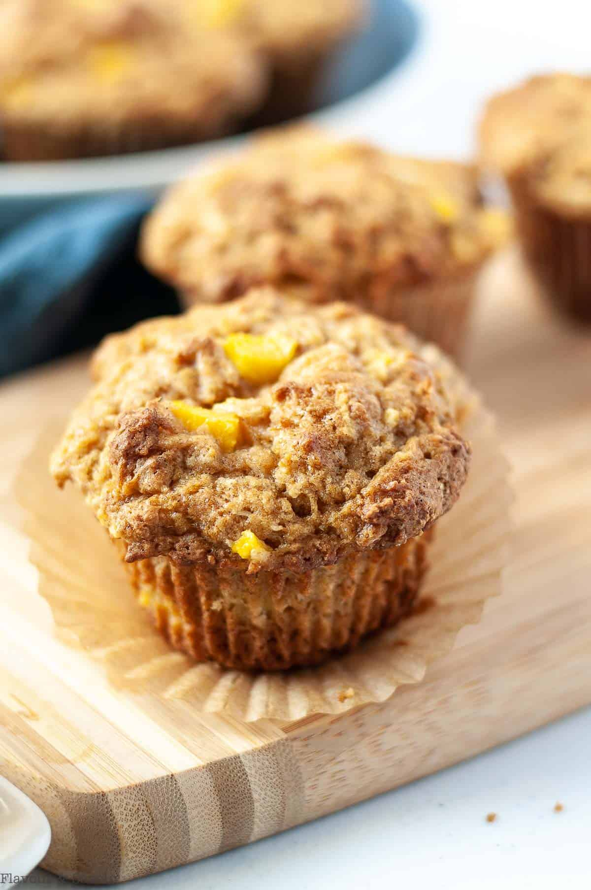 Close up view of a gluten-free Mango Coconut Muffin