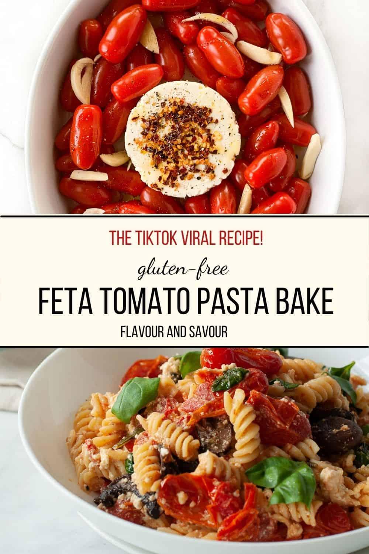 Gluten-free Feta Tomato Pasta Bake images with text