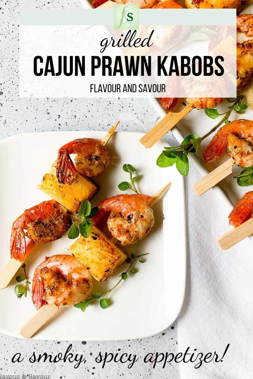 Image with text for grilled Cajun Prawn Kabobs