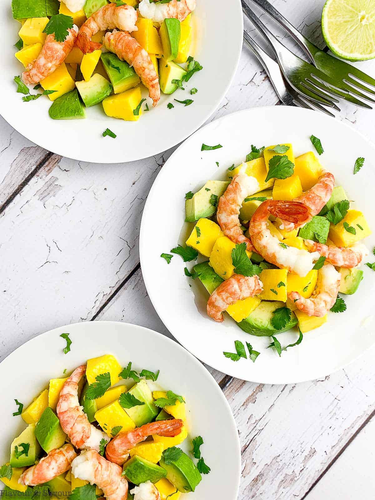 Three plates of prawn salad with mangoes and avocados.