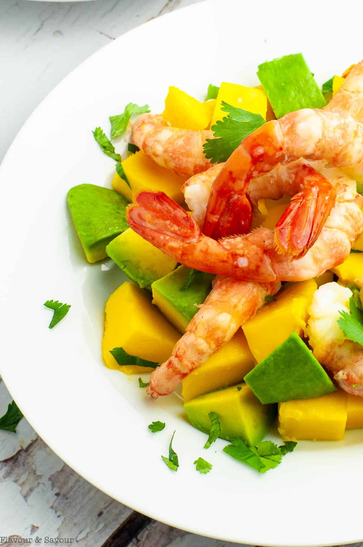 Close up view of a plate filled prawns, mangoes and avocado cubes
