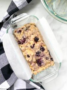 Blackberry bread batter in loaf pan