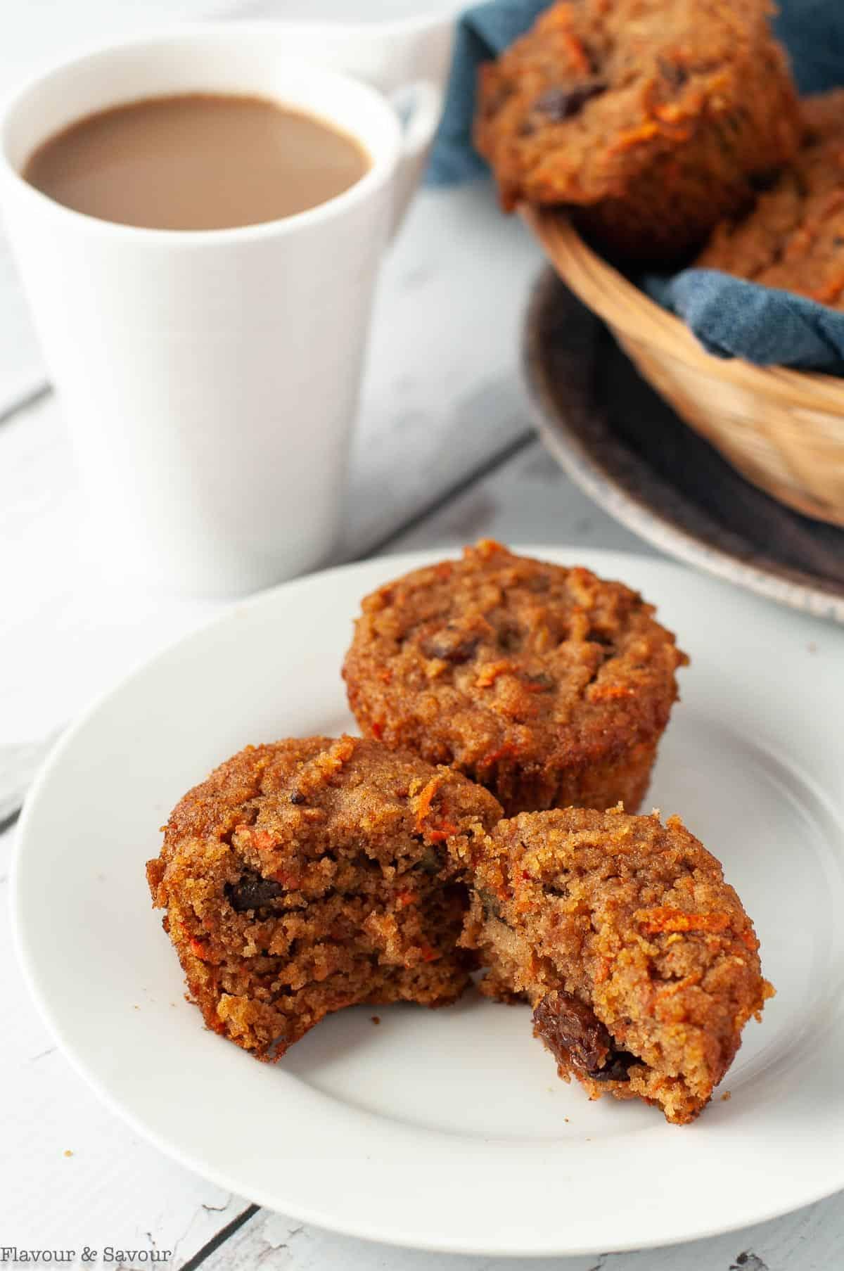 Gluten-free Sunshine Muffins split to show the interior.