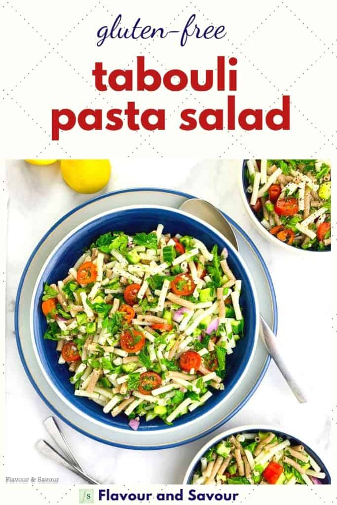 Text and Image for easy Tabouli Pasta Salad