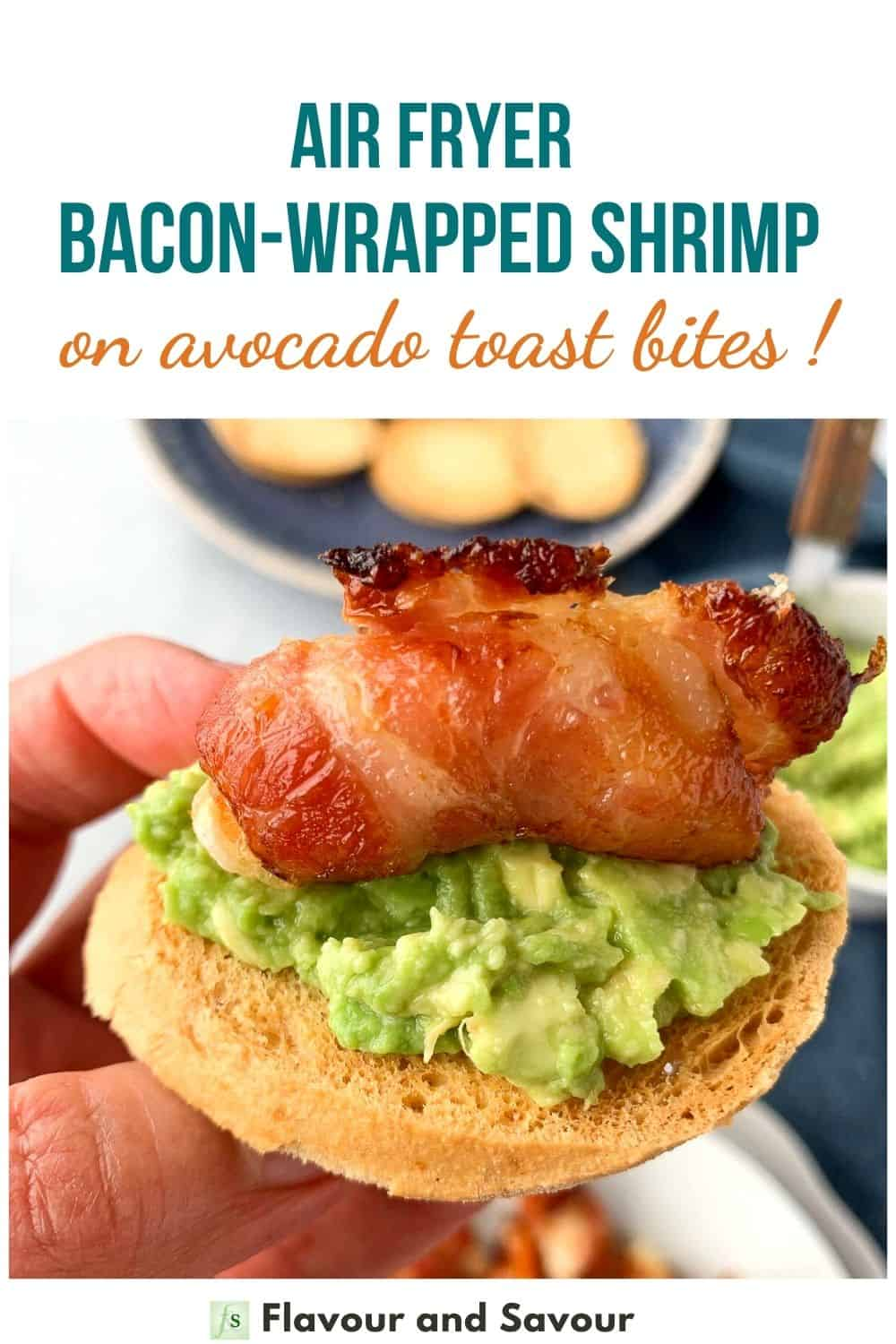 text and image for air fryer bacon wrapped shrimp tapas