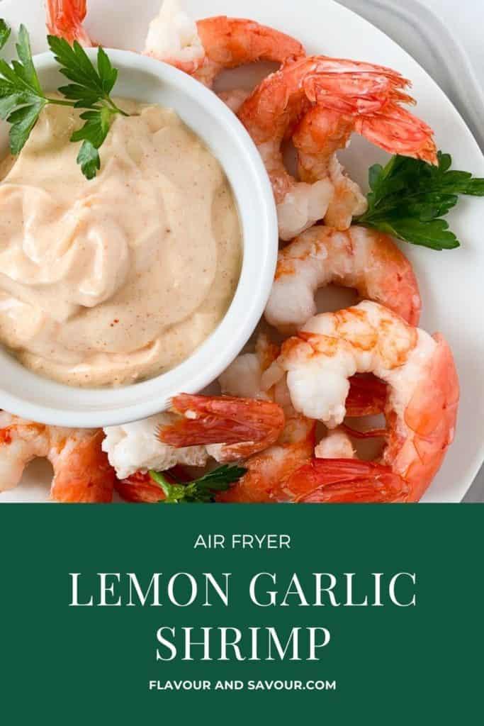 Image and text overlay for Air Fryer Lemon Garlic Shrimp