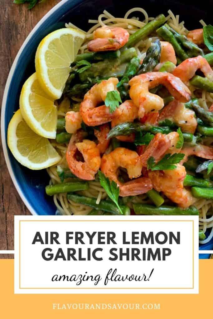text and image for air fryer lemon garlic shrimp