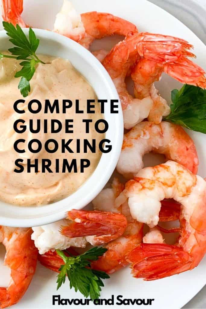 image and text for complete guide to cooking shrimp