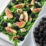 Fresh fig salad with blackberries, goat cheese and walnuts