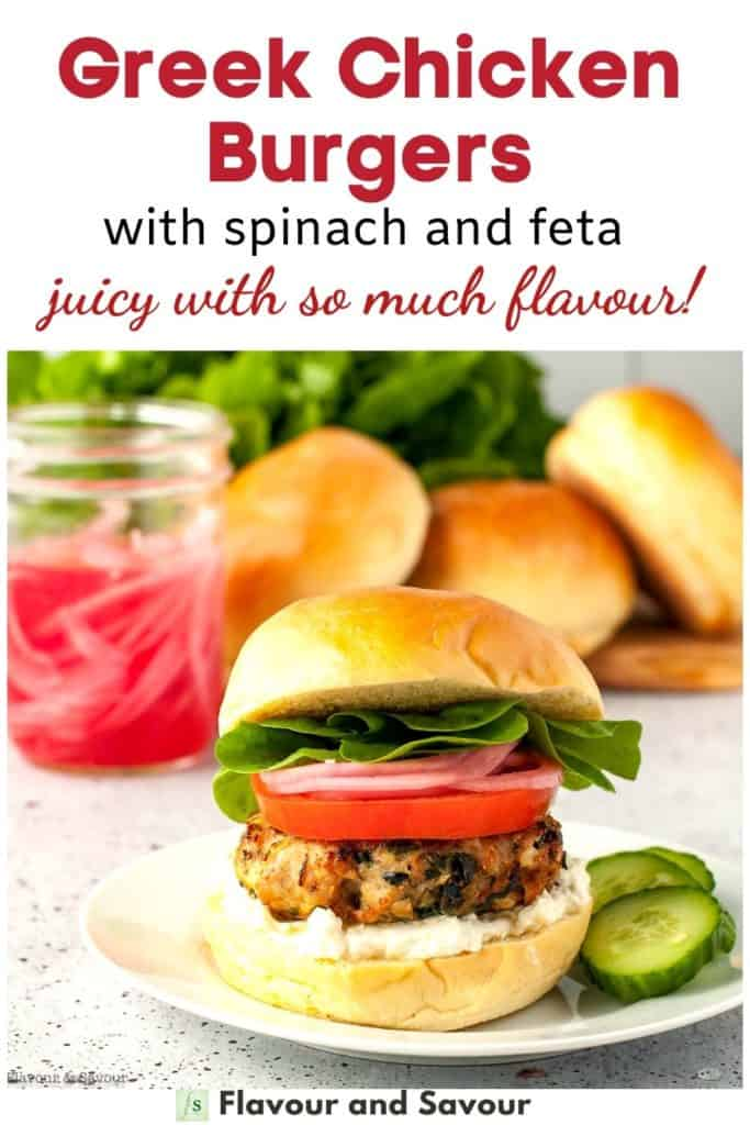 Image and text overlay for Greek Chicken Burgers with spinach and feta
