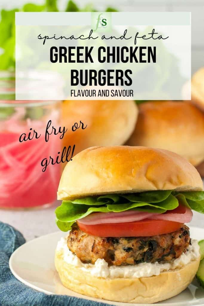 Text and image for Greek Chicken Burgers with Spinach and Feta