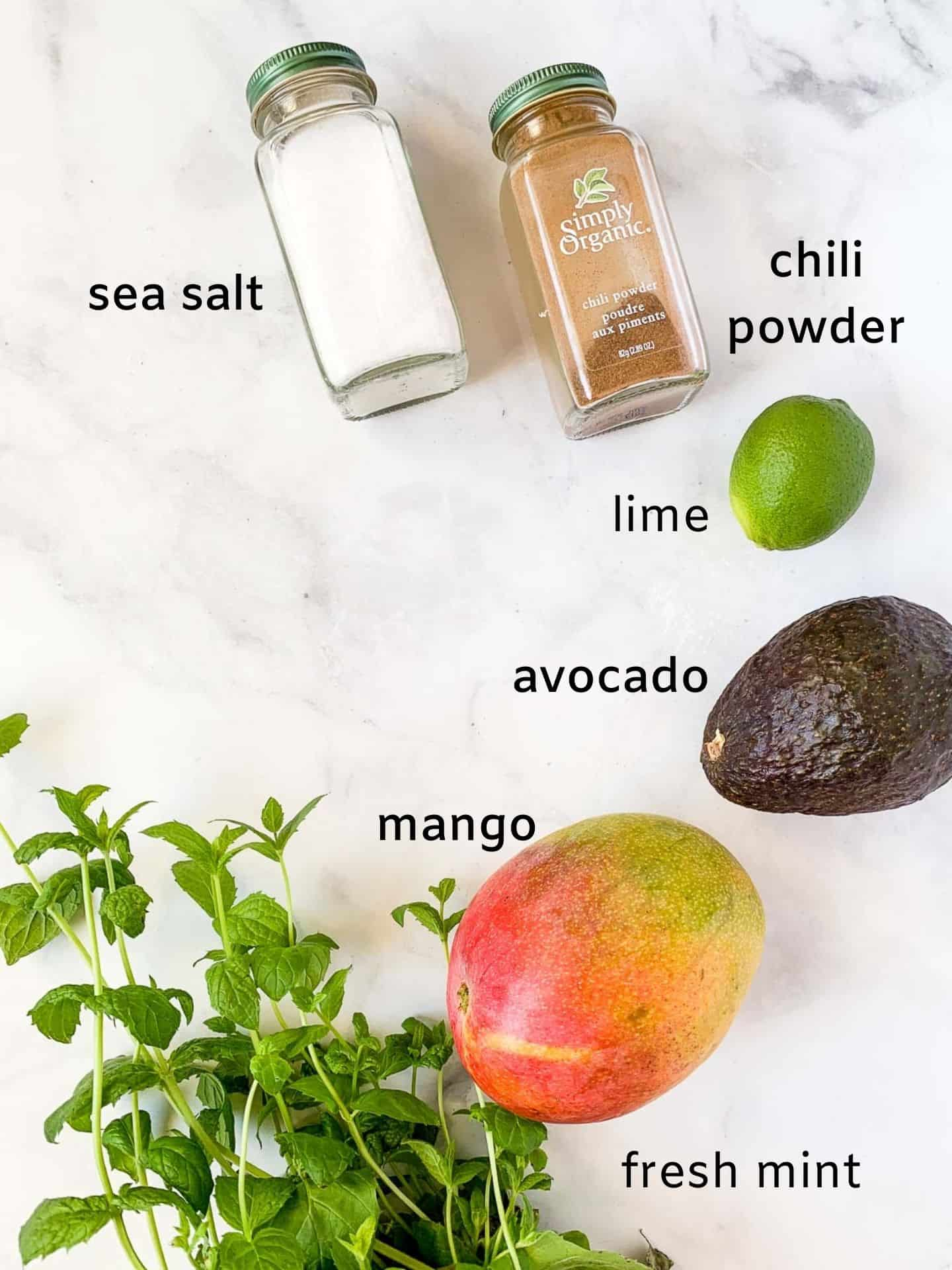 Labeled ingredients for Mango Avocado Chili Lime Salad