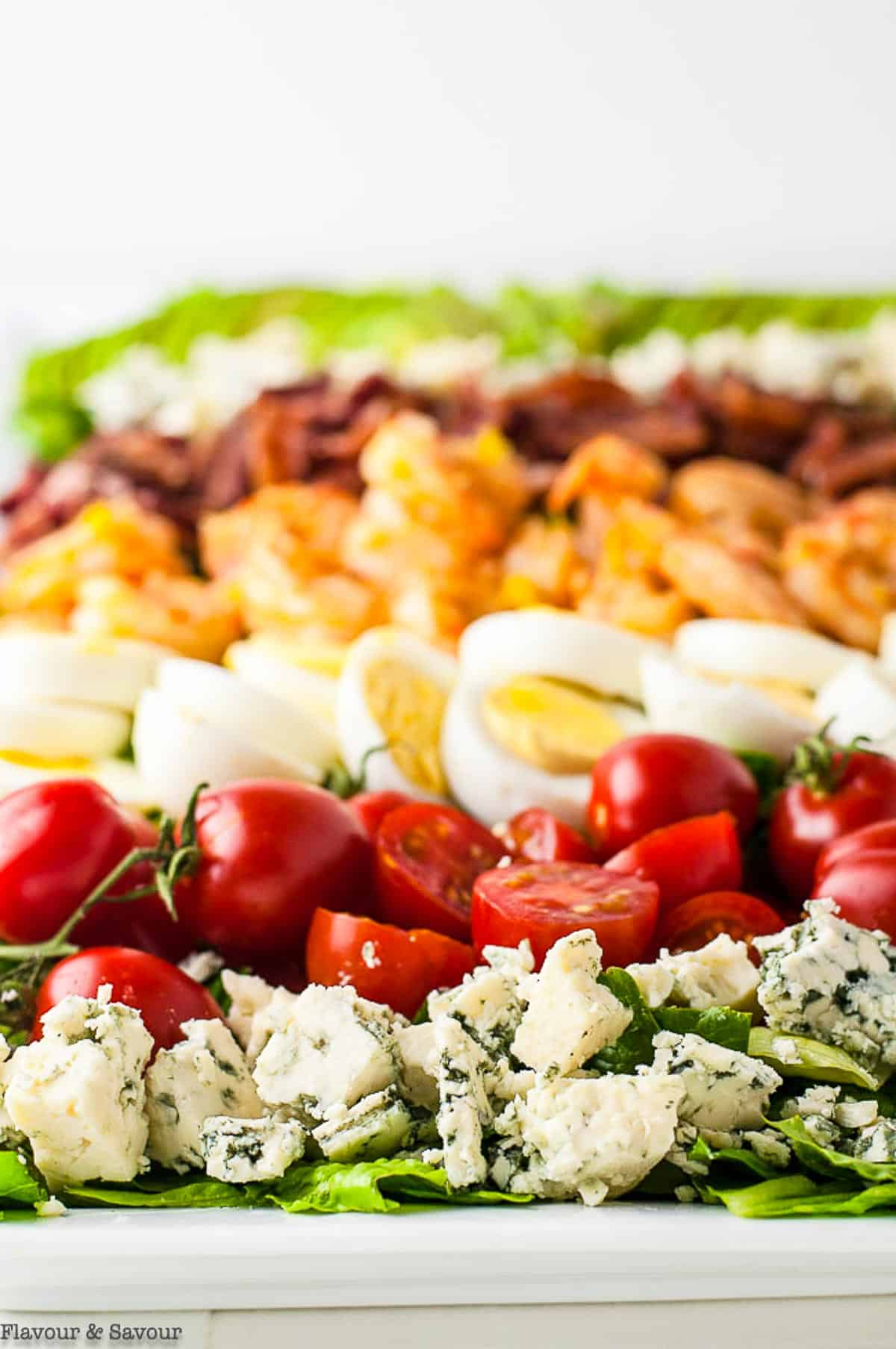 Close up view of the rows of ingredients for Shrimp Cobb Salad