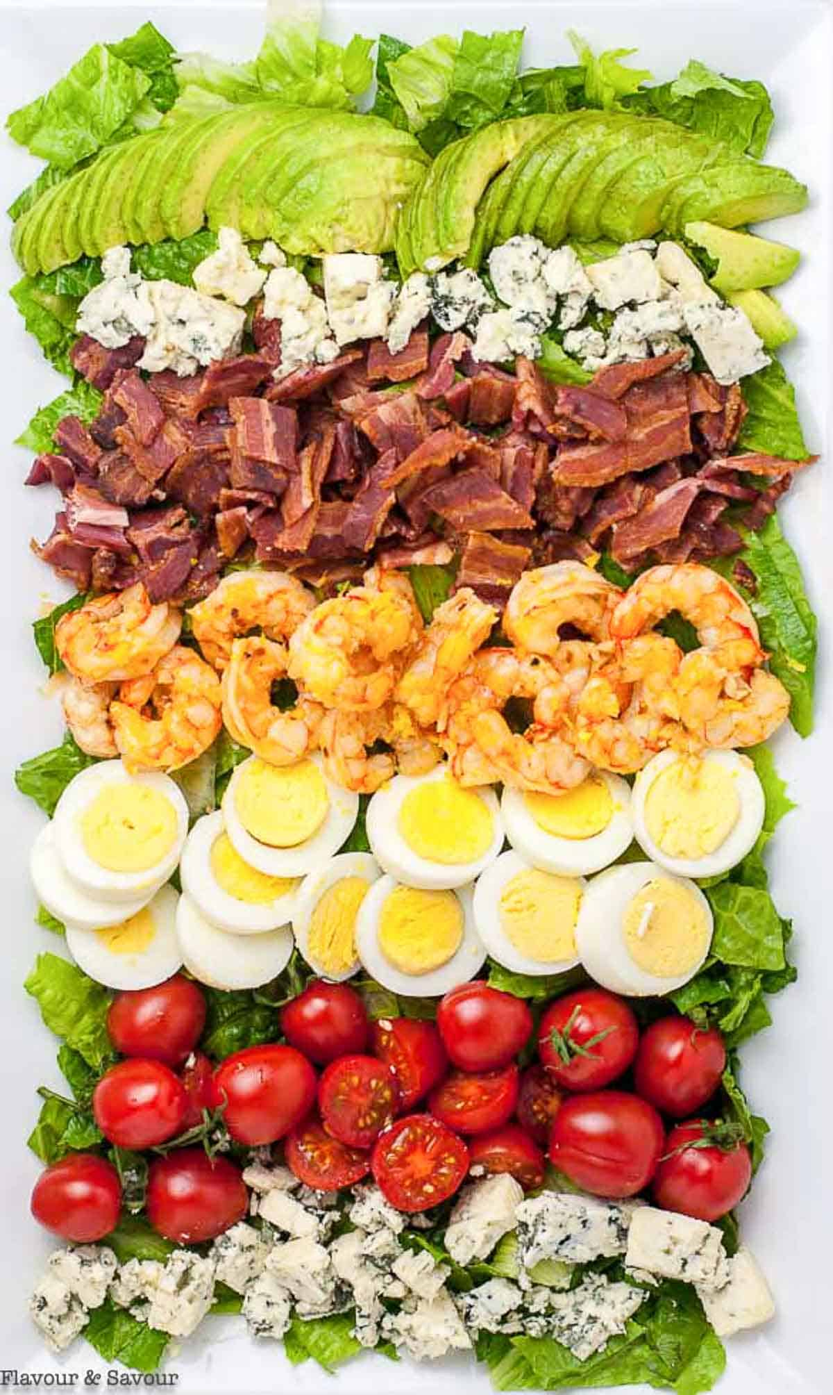 Overhead view of Shrimp Cobb Salad showing rows of ingredients