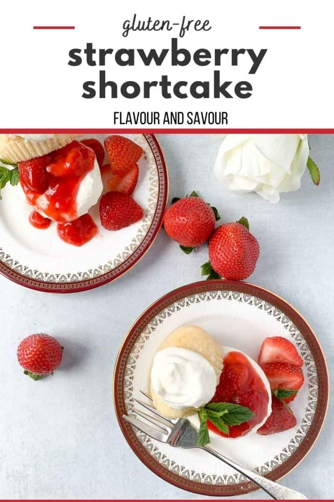 Image of gluten-free strawberry shortcake with text overlay