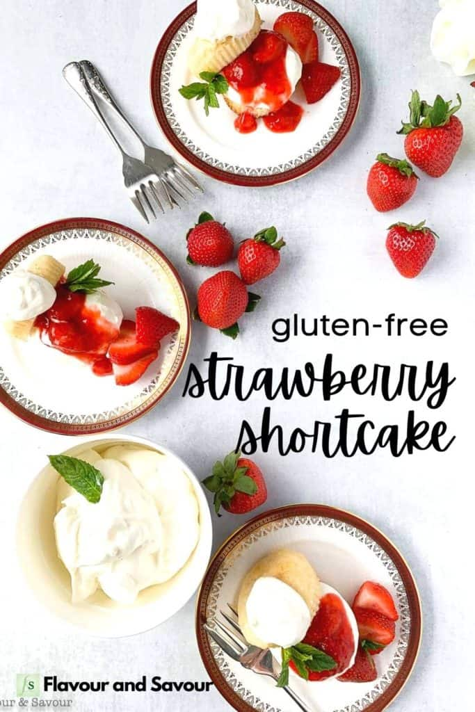 Image with text overlay for gluten-free strawberry shortcake