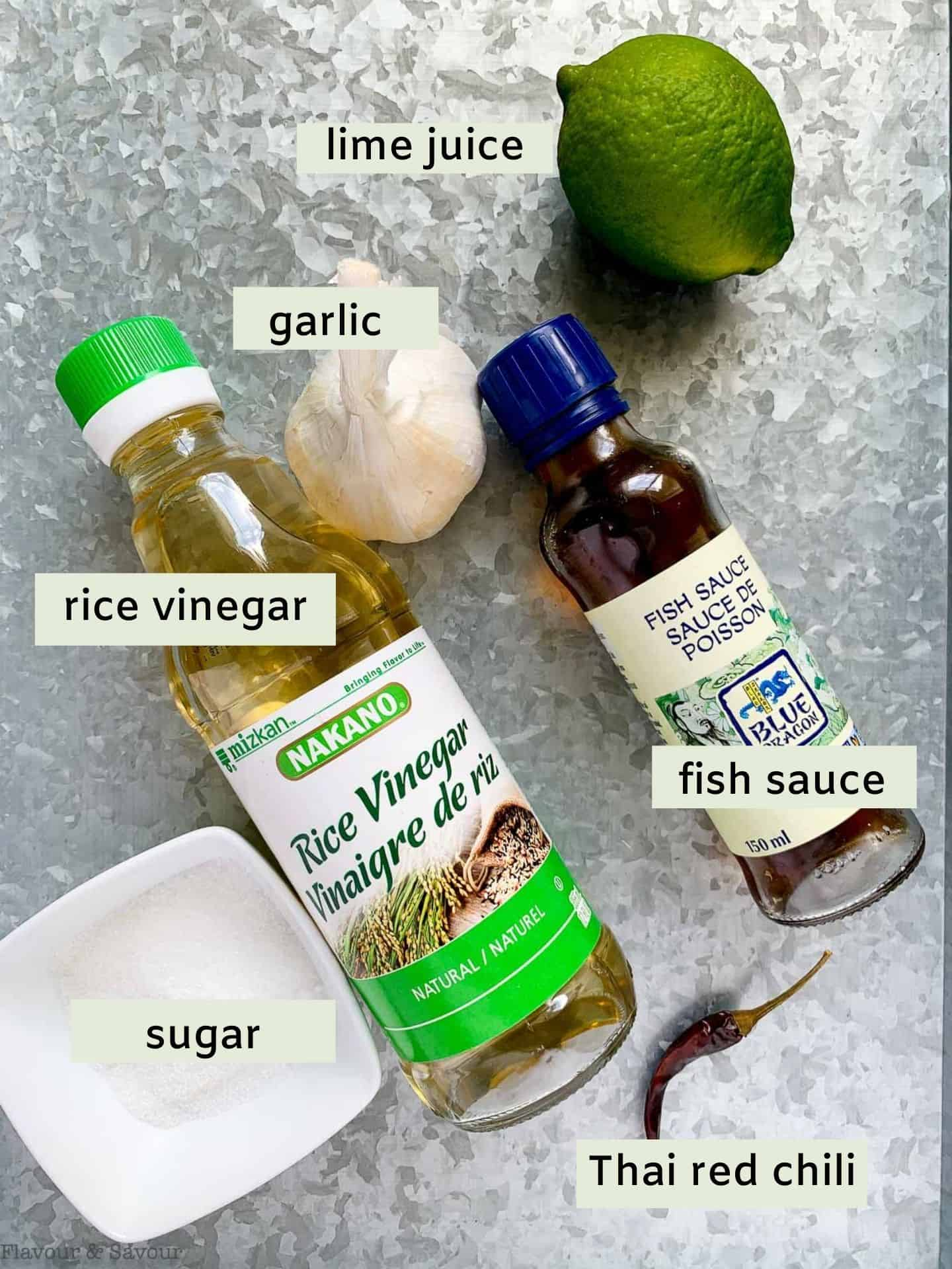 Labeled ingredients for Nuoc Cham