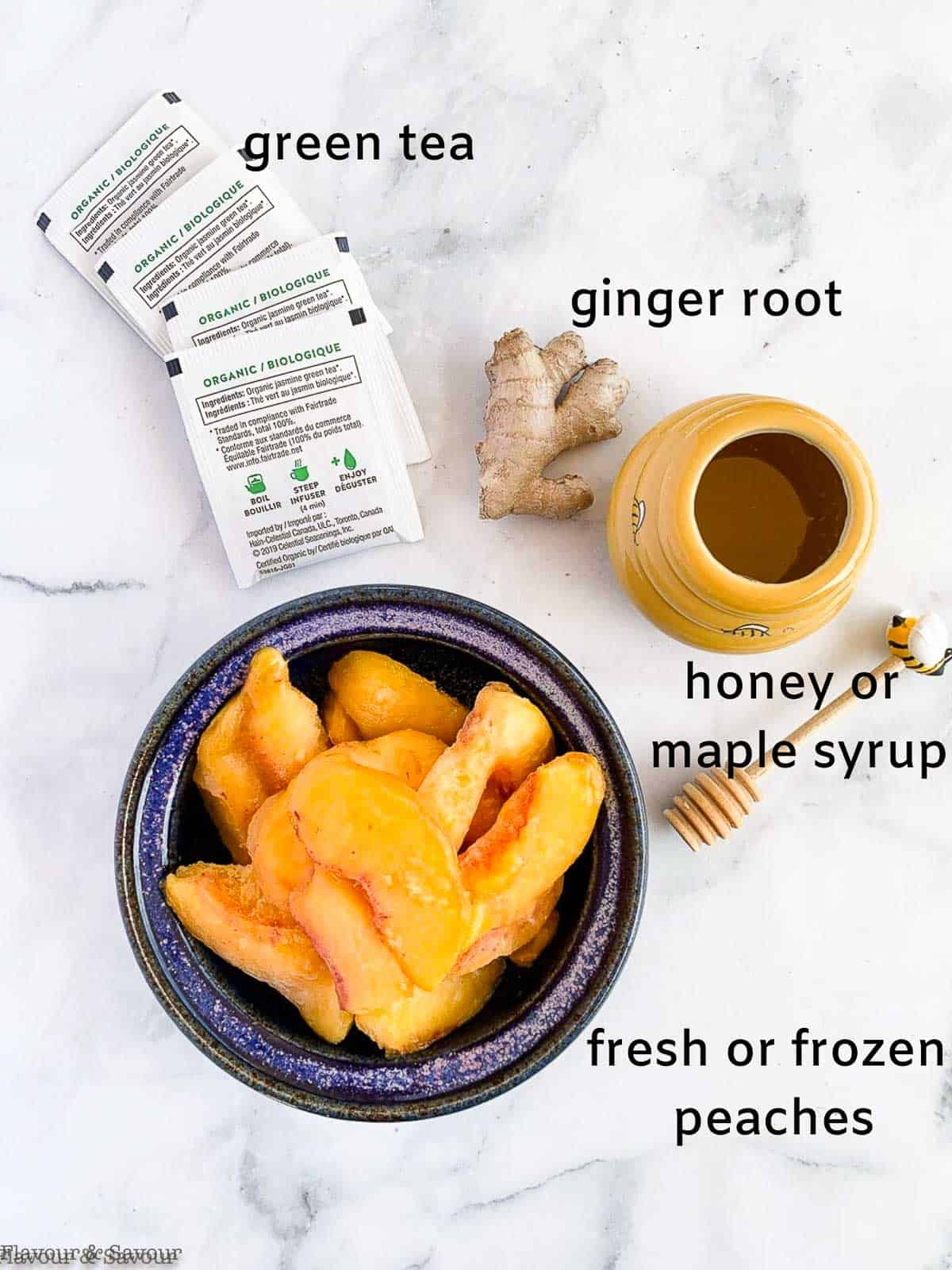 Labeled ingredients for Peach Ginger Iced Green Tea