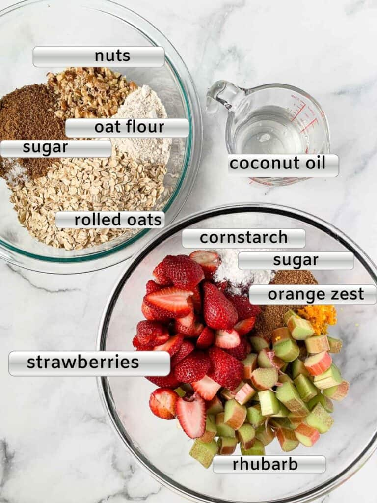 labeled ingredients for Strawberry Rhubarb Crisp