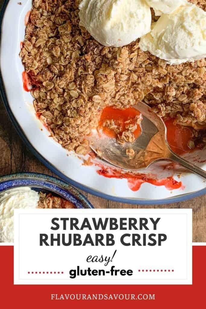 Pinterest image for Strawberry Rhubarb Crisp