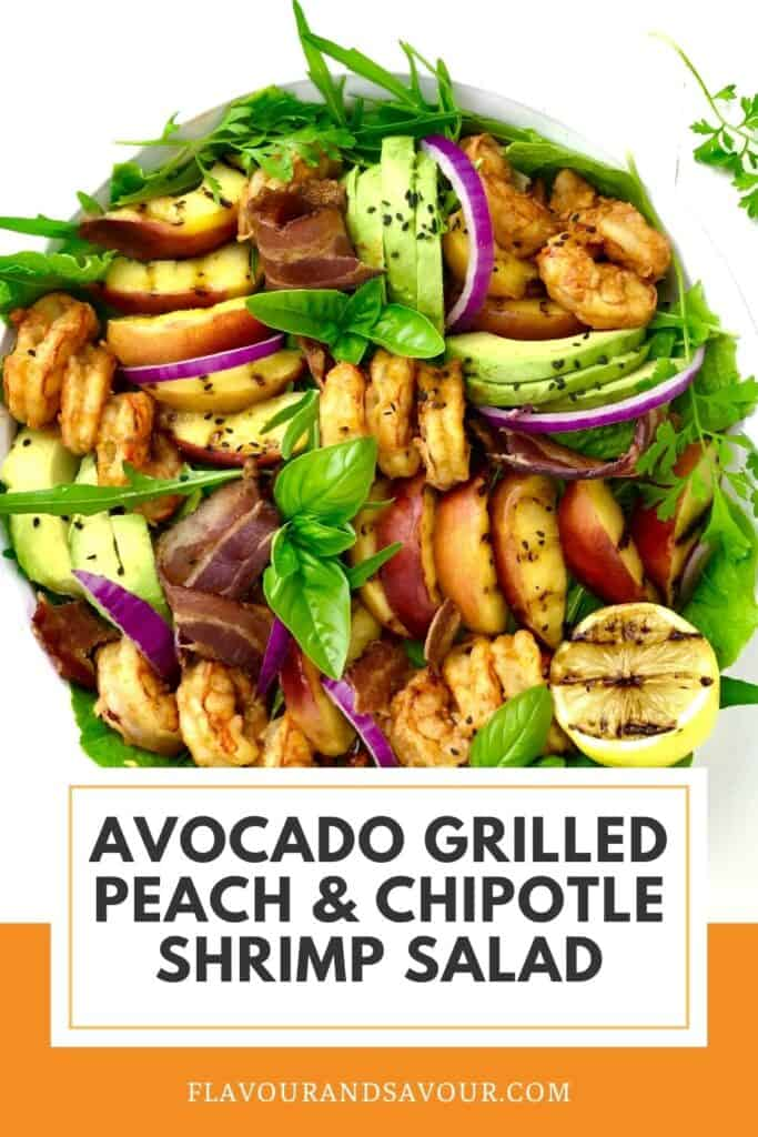 text and image for avocado grilled peach shrimp salad