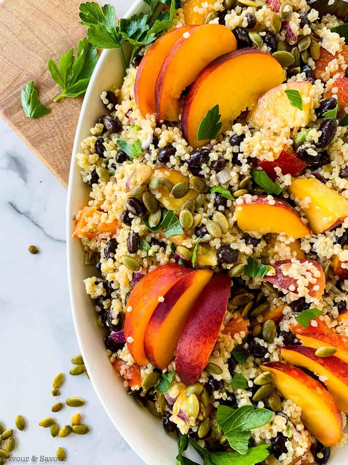 Close up view of Quinoa Black Bean Salad with Peaches