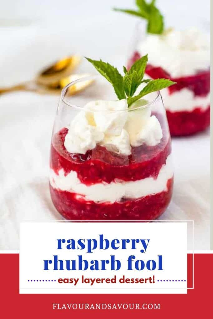 text overlay and image for raspberry rhubarb fool