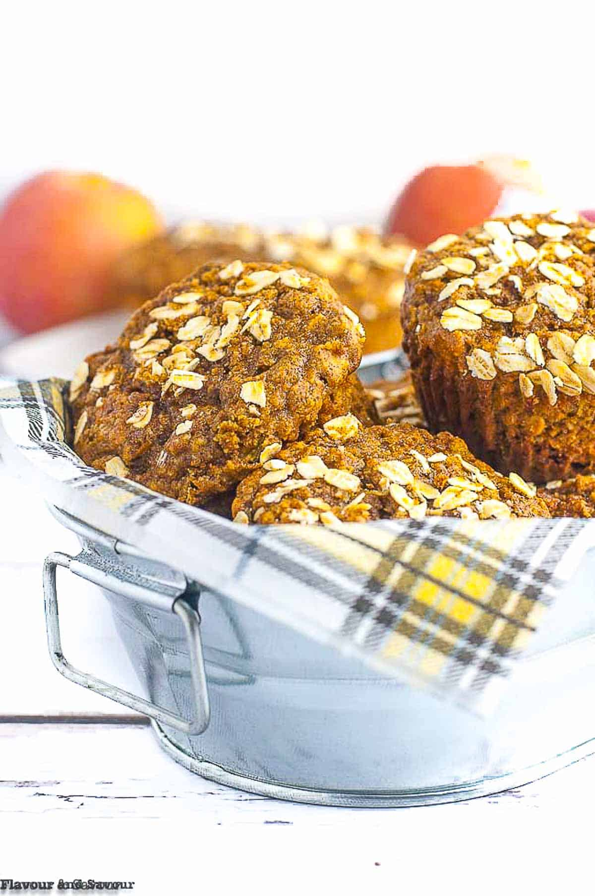 Healthy Apple Oatmeal Breakfast Muffins made with applesauce, rolled oats, honey and almond butter are gluten-free and dairy-free! They're packed with protein to keep you feeling full all morning! #glutenfree #dairyfree #applesauce #almondbutter #peanutbutter