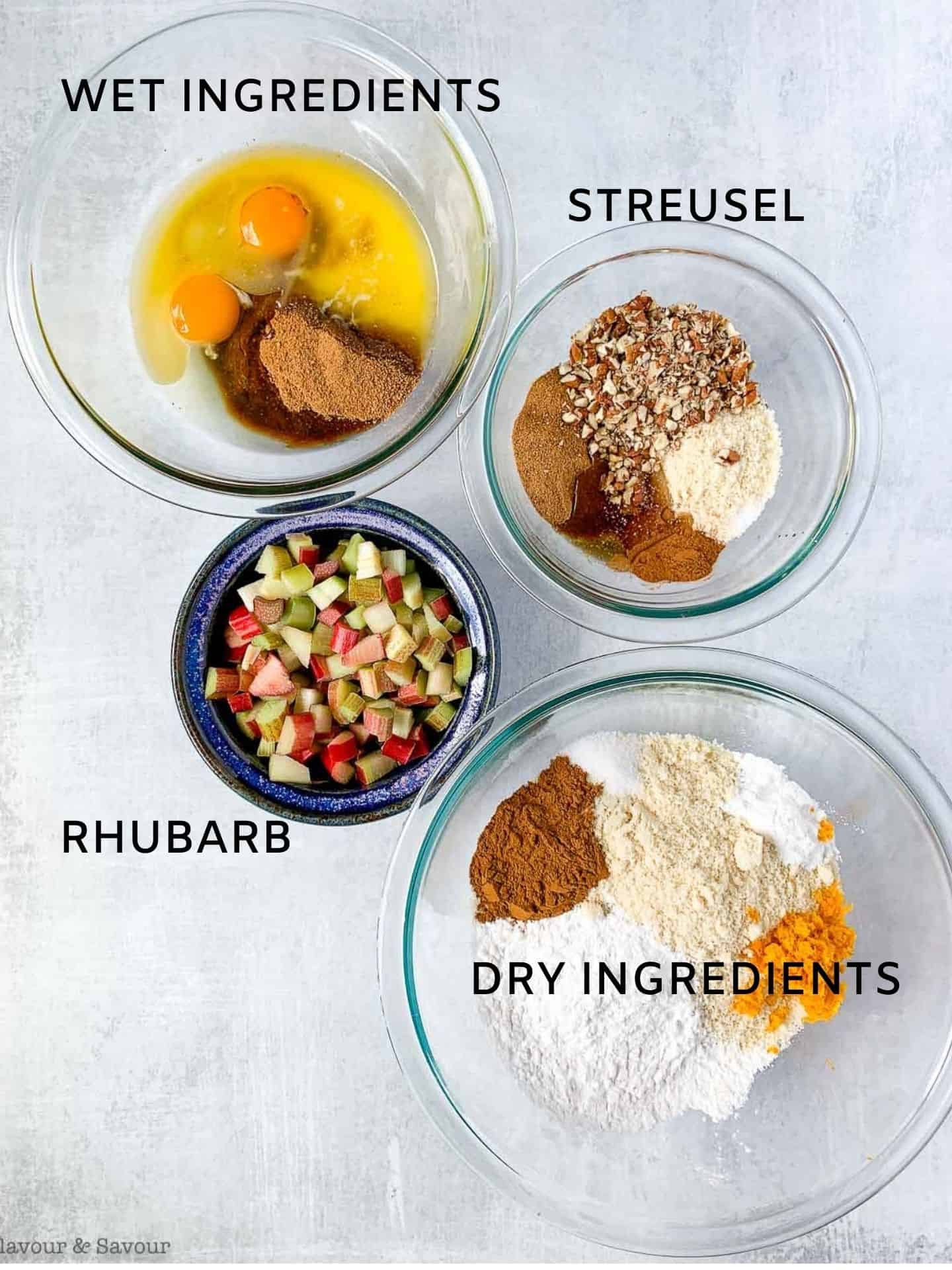 Ingredients for Gluten-free Rhubarb Streusel Muffins in bowls