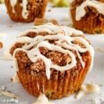 a Rhubarb Streusel Muffins with vanilla glaze