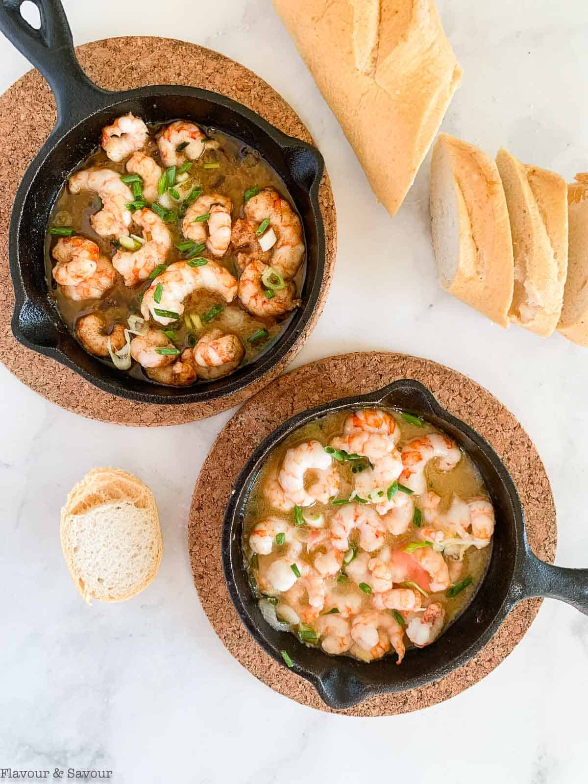 two mini cast iron skillets with gin-gingered prawns.