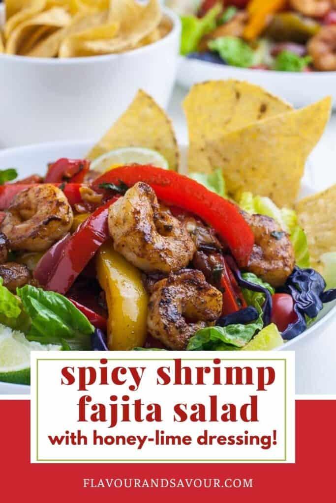 Text and image for Spicy Shrimp Fajita Salad