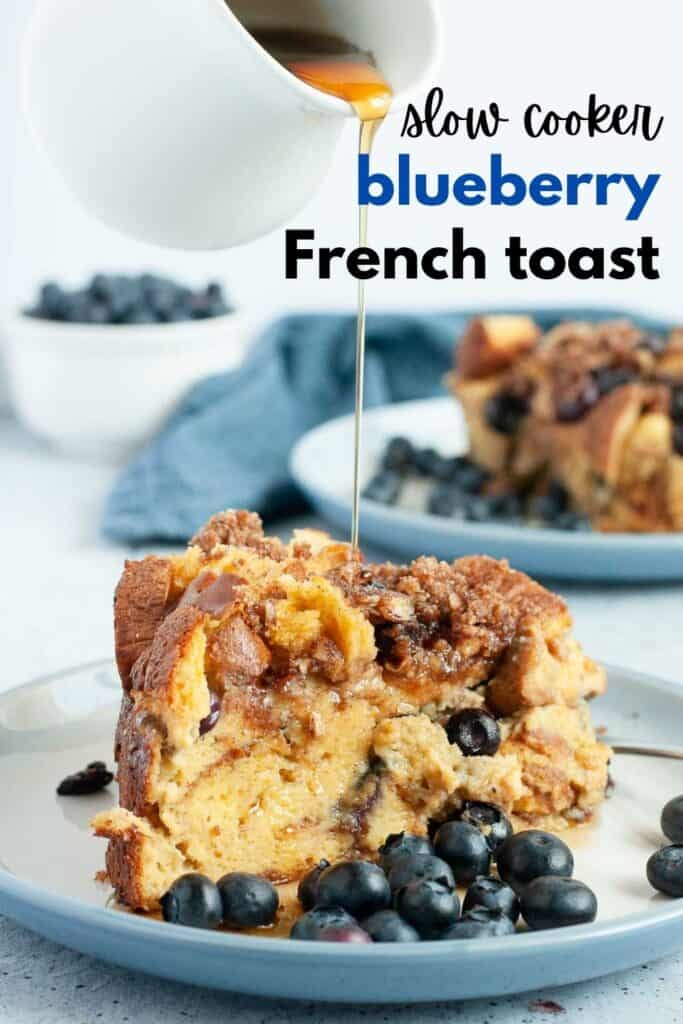 Image with text slow cooker blueberry French toast