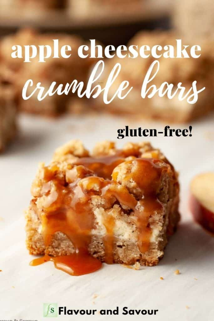 image with text overlay for apple cheesecake crumble bars