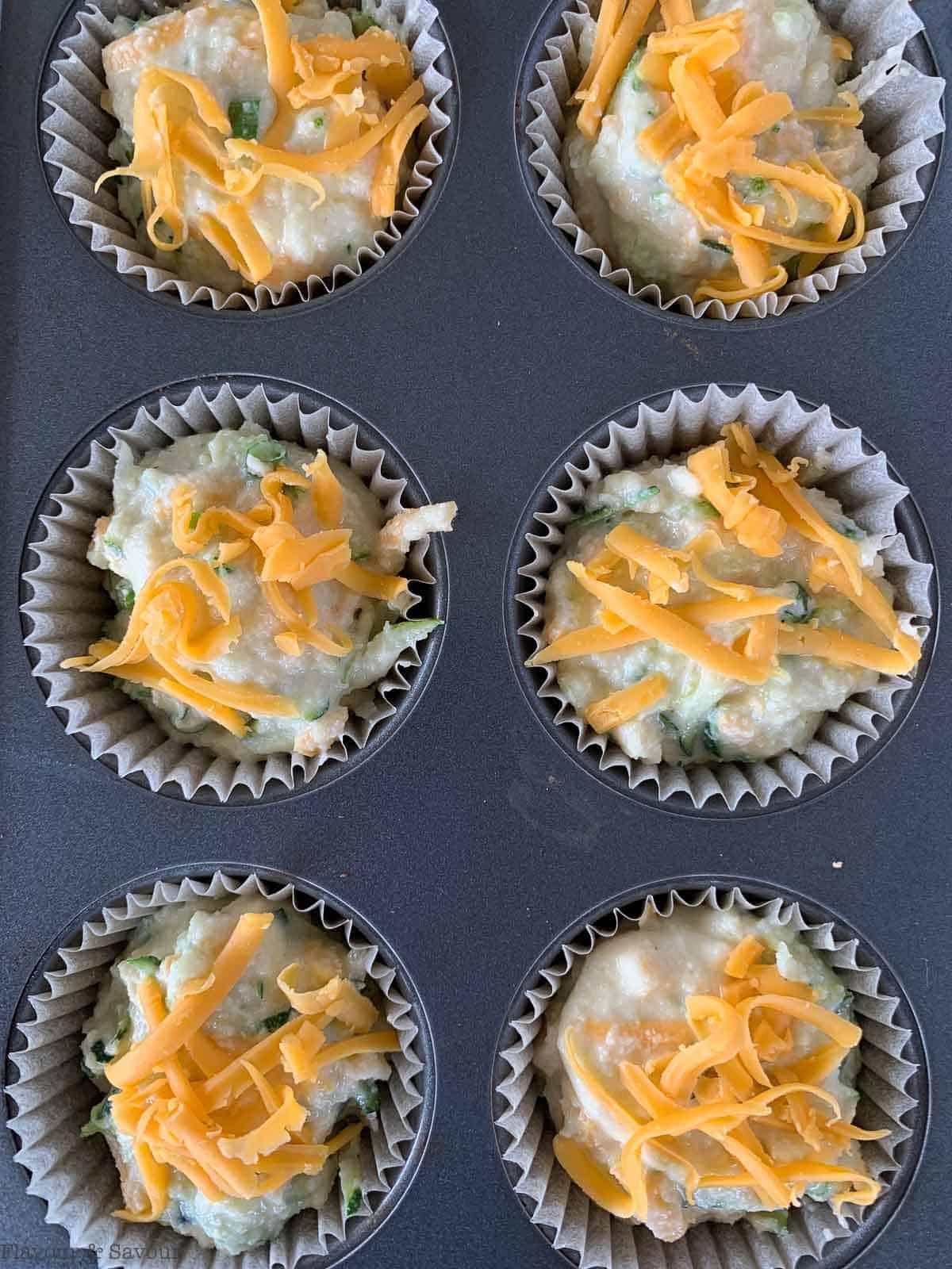Zucchini Cheddar Muffins ready to bake