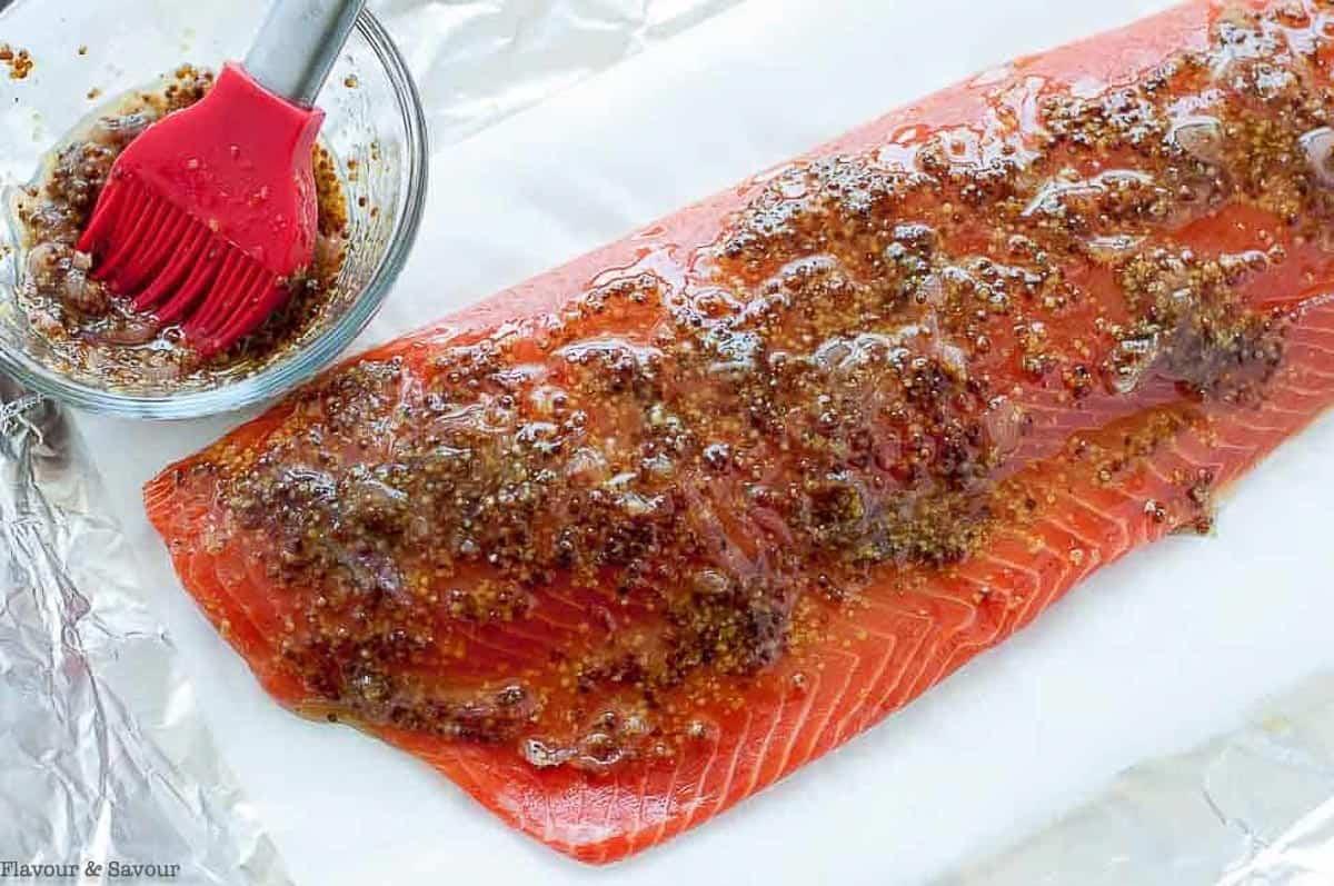 a wild salmon fillet brushed with honey dijon glaze