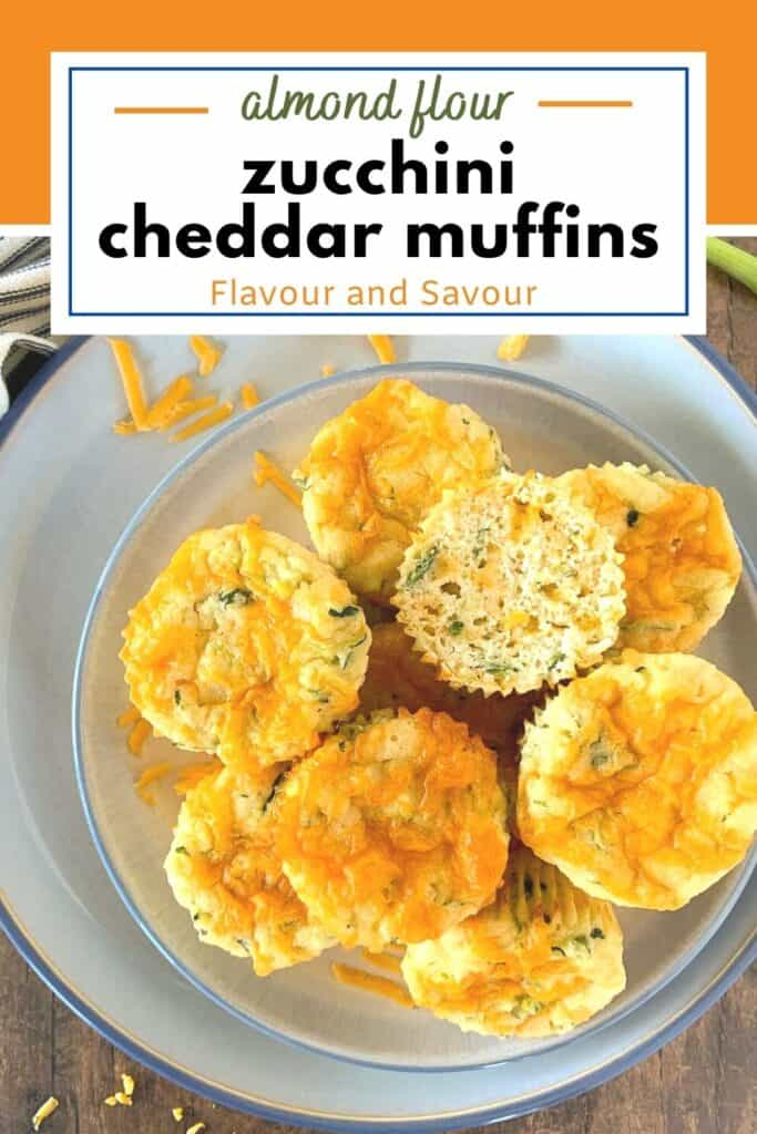 image and text overlay for gluten free zucchini cheddar muffins