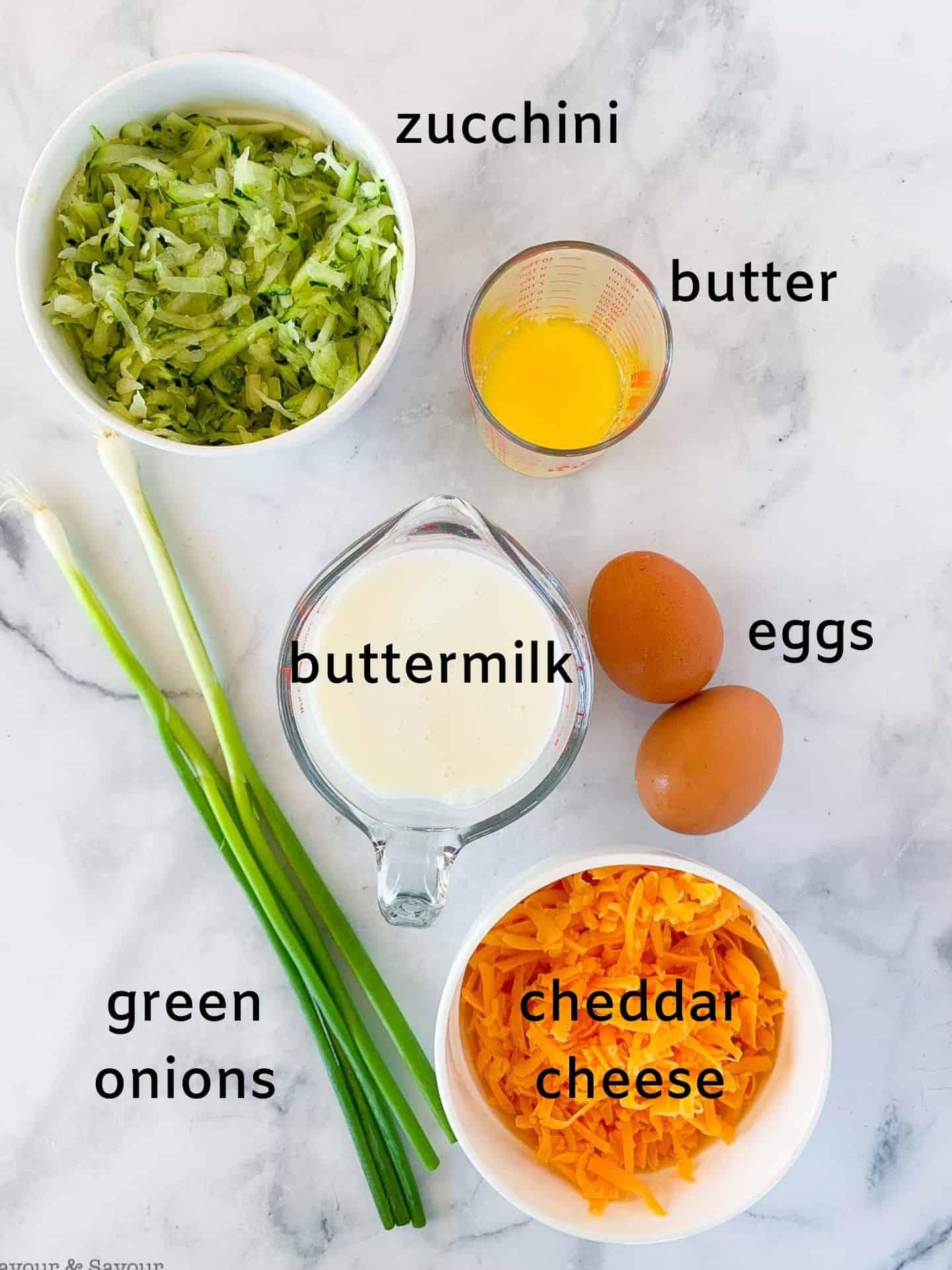 wet ingredients for gluten-free zucchini cheddar muffins