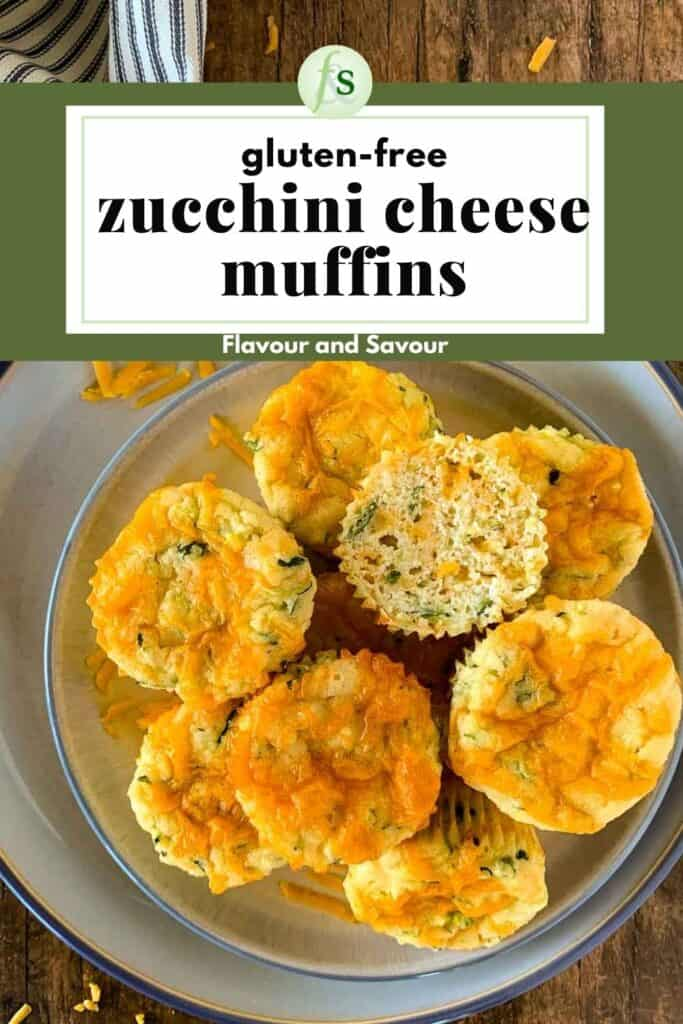 Image with text for Gluten Free Zucchini Cheese Muffins