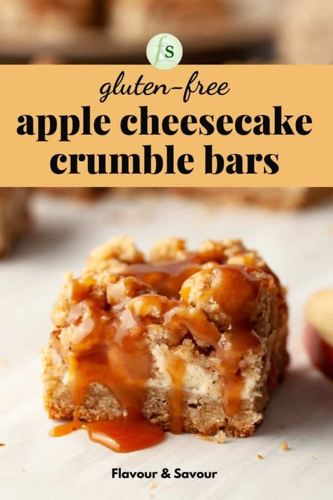 image of apple cheesecake crumble bars with text overlay