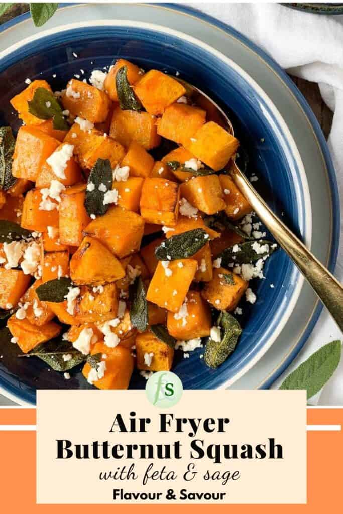 image with text overlay for Air Fryer Butternut Squash with Feta and Sage