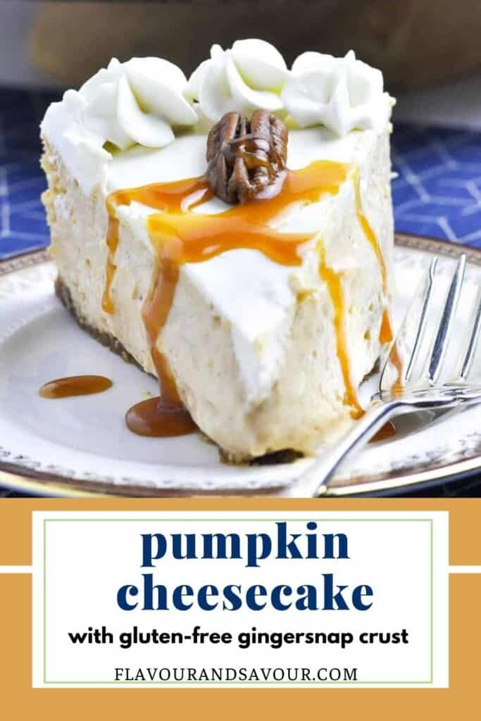 Image and text for gluten-free Pumpkin Cheesecake