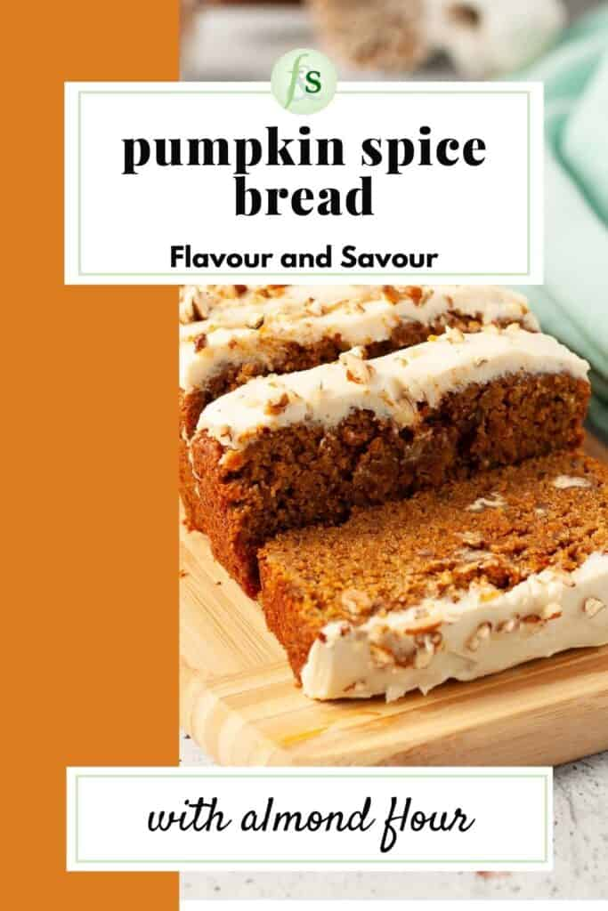 Image and text for pumpkin spice bread