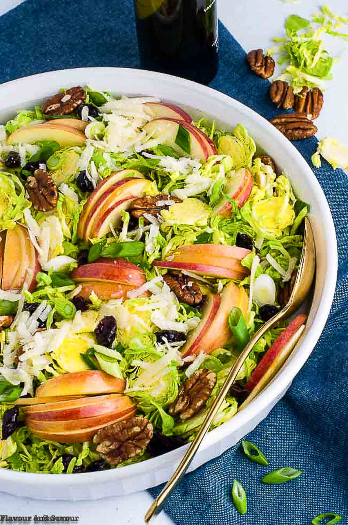 Shaved Brussels Sprouts salad with thinly sliced apples