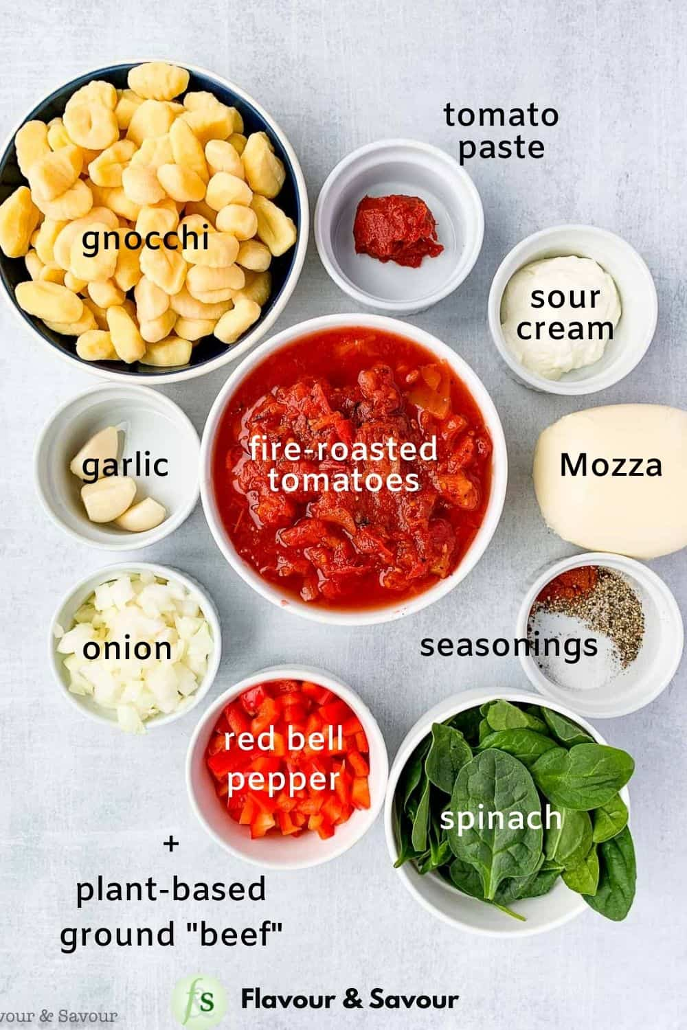 Ingredients with labels for skillet-baked cheese and tomato gnocchi casserole with plant-based ground beef.