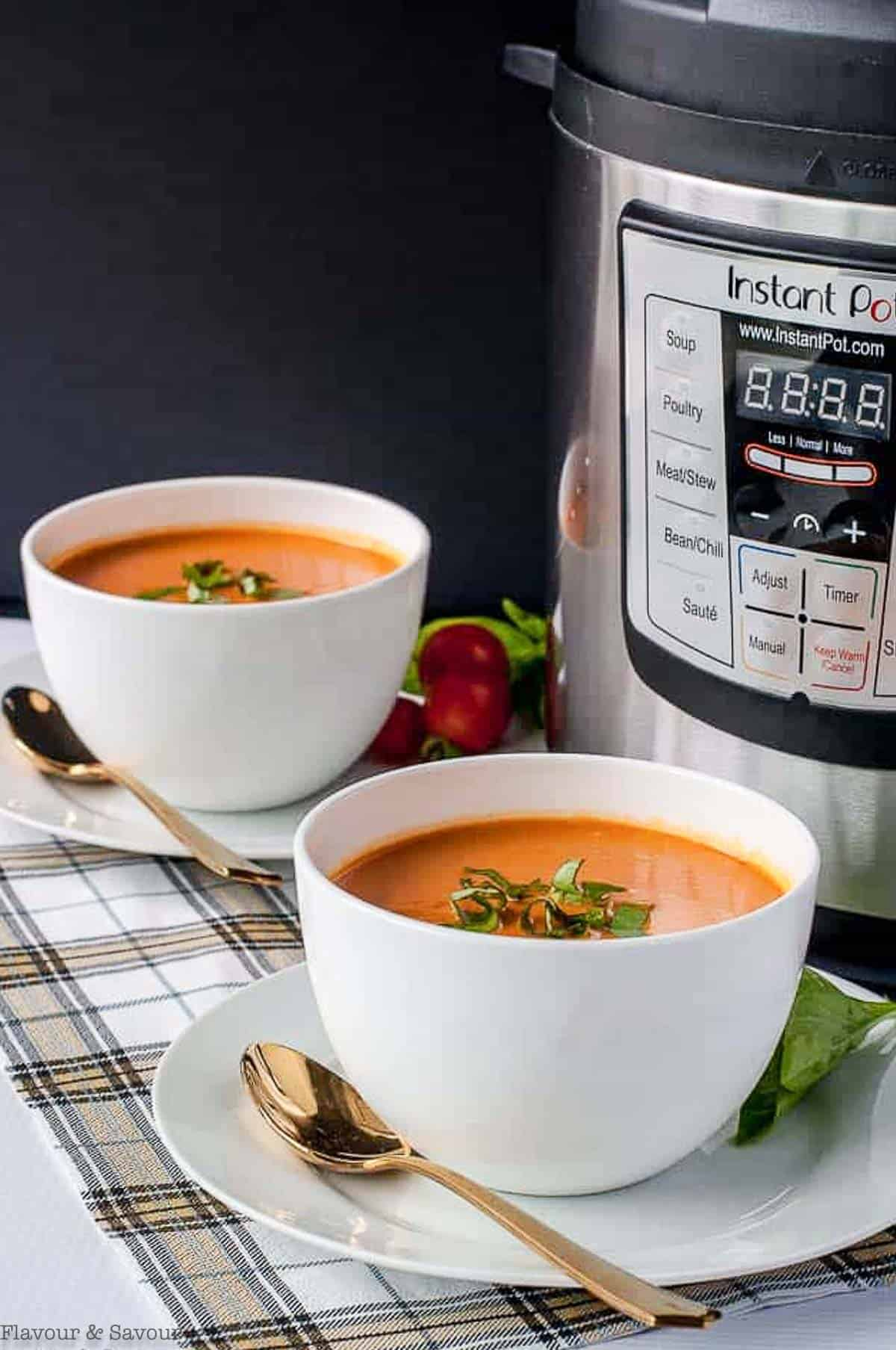 Two bowls of tomato soup beside an Instant Pot