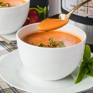 a bowl of instant pot tomato soup with cream
